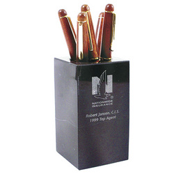 Executive Black Marble Pen/Pencil Holder