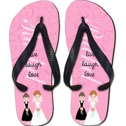 Personalized Pink Bridesmaid Flip Flops