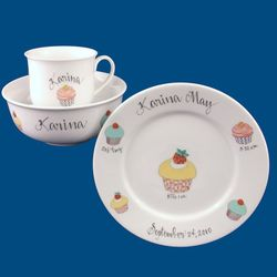 Personalized Hand Painted Porcelain Baby Dish Set