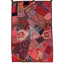 Indian Patchwork Fabric Art Mosaic
