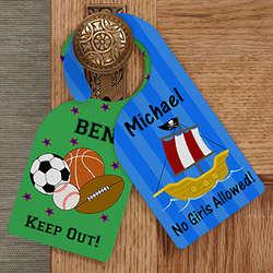 Personalized Door Knob Hanger for Boy's Bedroom