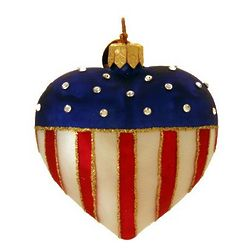 Patriotix Heart Blown Glass Christmas Ornament