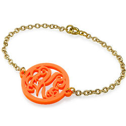 Acrylic Monogram Bracelet with Gold Plated Chain
