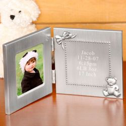 Pewter Personalized Double Frame Baby Keepsake