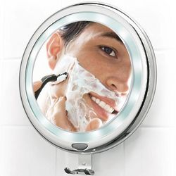 Lighted, Fogless Shower Mirror