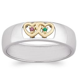 Sterling Silver Two-Tone Couples Birthstone Hearts Band