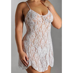 Plus Lace Chemise with G-String Set