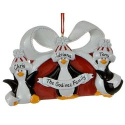 Personalized Penguin Package Christmas Ornament