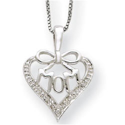 Sterling Silver and Diamond Mom Pendant