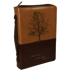 Debossed Tree Two-Tone Lux Leather Bible Cover