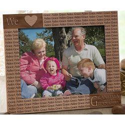 Loving Hearts Engraved Wood Frame