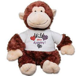 Personalized Wild About You Monkey Stuffed Animal