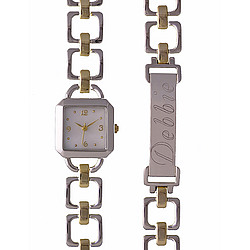 Personalized Two Tone Ladies Watch & ID Bracelet