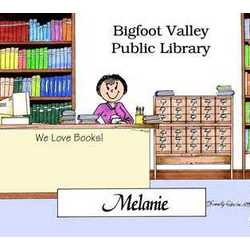 Librarian Personalized Cartoon Matted Print