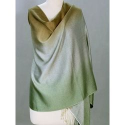 Shimmering Earth Silk and Wool Shawl