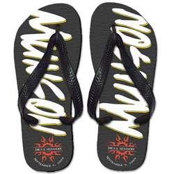 Personalized Coal Tribal Flip Flops