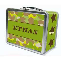 Personalized Camo Lunch Box with Chalkboard Lid