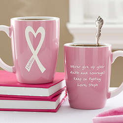 Personalized Courage and Strength Breast Cancer Awareness Mug