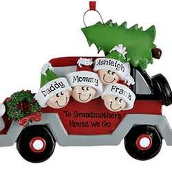 Car Family of 4 Personalized Christmas Ornament