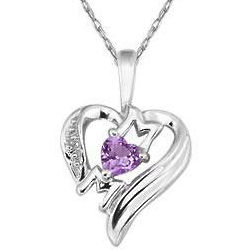 Heart Shaped Amethyst Mom Pendant in 10K White Gold