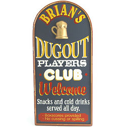 Personalized Dugout Players Club Plaque