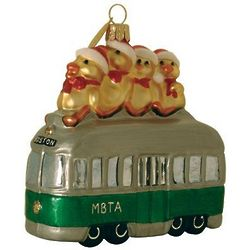 Boston Bus Blown Glass Christmas Ornament