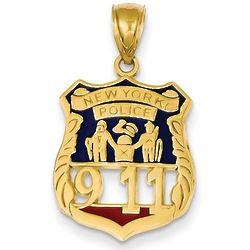 14k Gold 9-11 New York City Police Badge Pendant