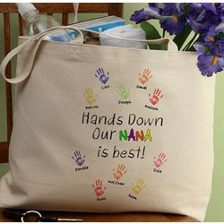 Hands Down Personalized Canvas Tote Bag