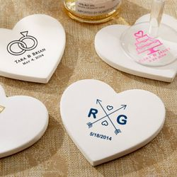 Heart-Shaped Personalized Stone Coaster Favors