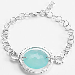 Aqua Chalcedony Stone Bracelet