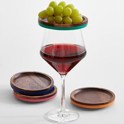 Wooden Wine Glass Appetizer Trays
