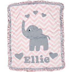 Pink Chevron Elephant Mini Baby Blanket with Hearts