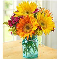 Warm Sunset Bouquet with Blue Mason Jar Vase