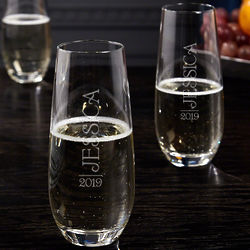 2 Jubilation Stemless Personalized Champagne Flutes