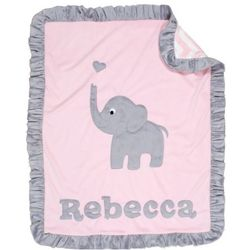 Elephant Mini Blanket with Love Heart