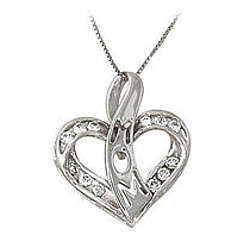 Diamond Heart Ribbon Laced Mom Pendant in 14k White Gold