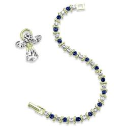 S Crystal Birthstone Tennis Bracelet with Angel Pin