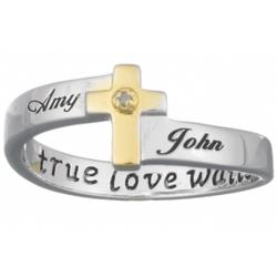 'True Love Waits' Sterling Silver Name & Diamond Purity Ring