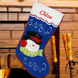 Embroidered Sequin Snowman Christmas Stocking