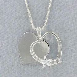 Engraved Heart Necklace with CZ Stars