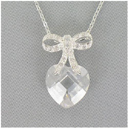 Cubic Zirconia Heart with Bow Silvertone Pendant Necklace