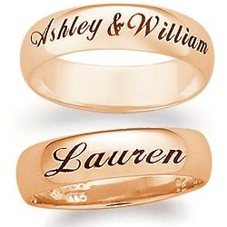 18K Gold over Sterling Laser Top-Engraved Message Band