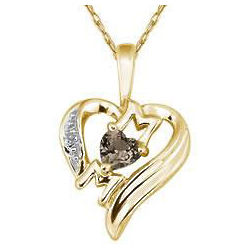 Heart Shaped Smokey Quartz Mom Pendant in 10K Yellow Gold