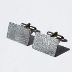 Beaten Tin Rectangle Diamond Cufflinks