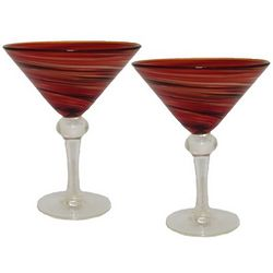 Red Swirl Martini Glasses
