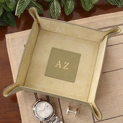 Personalized Brown Suede and Leather Snap Design Valet