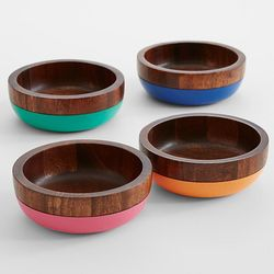Wooden Bowls with Colorful Bottoms