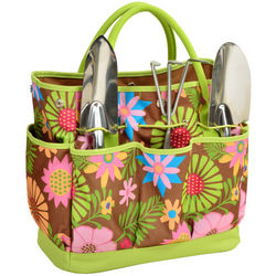 Red Floral Promenade Eco Garden Tote and Tools