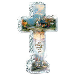 Thomas Kinkade Faceted Crystalline Cross with Chapel Art