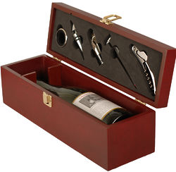 Mahogany Wood Wine Box and Bar Accessories Set